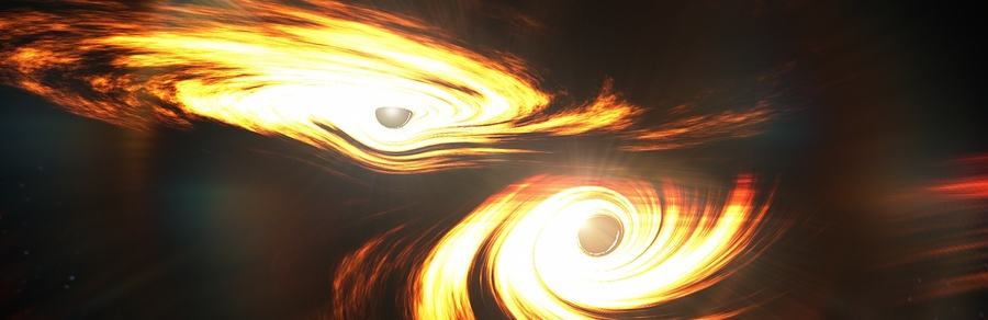 Artist's impression of binary black holes about to collide